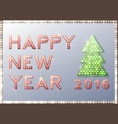 christmas greeting card with tree retro light vector image