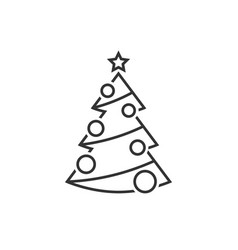 christmas tree with christmas decorations vector image