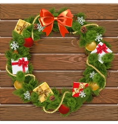 Christmas Wreath on Wooden Board 5 vector image