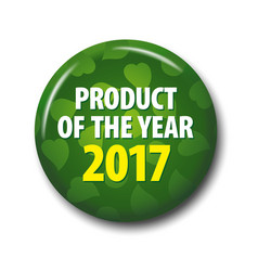 circle green sign product of the year - 2017 vector image