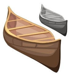 Classic wooden boat in cartoon style vector