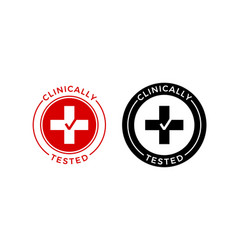 Clinically tested medical cross check icon vector