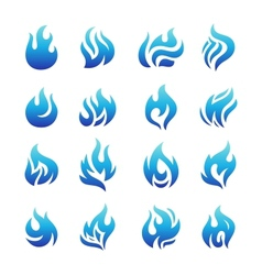 collection blue fire icons vector image