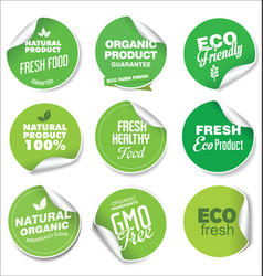 collection green labels and badges for organic vector image