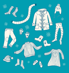 collection of hand drawn winter clothing vector image