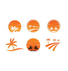 collection of summer logo icon template vector image