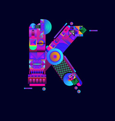 Colorful alphabet font letter k for logo vector
