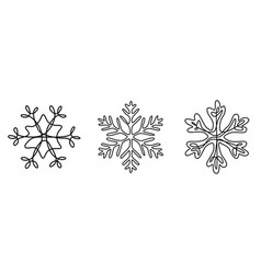 continuous line drawing set snowflakes winter vector image