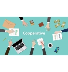 cooperative concept discussion with vector image