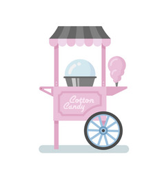 Cotton candy machine flat vector