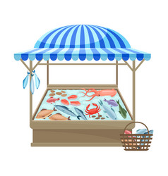 Counter for sale fish and seafood vector