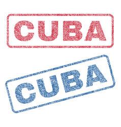 Cuba textile stamps vector