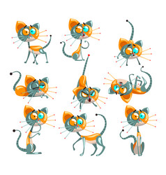 Cute robotic cat set funny robot animal in vector