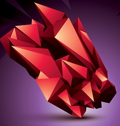 Digital 3d abstraction red geometric polygonal vector