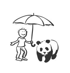 Doodle save panda concept vector