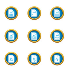 Dossier icons set flat style vector