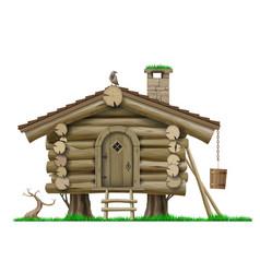 Fairytale wooden vintage forest stilt house vector