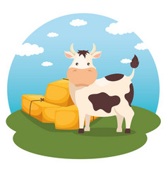 Farming and agriculture hay bales icon vector