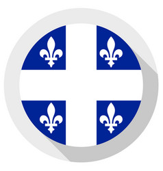 Flag quebec round shape icon on white vector