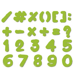 font design for numbers and signs in green color vector image