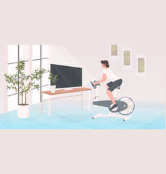 girl engaged in stationary bike sport healthy vector image