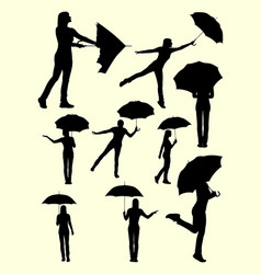 girl with umbrella gesture silhouette vector image