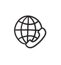 Global communications sketch icon vector