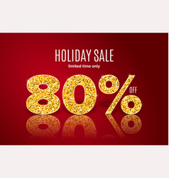 golden holiday sale 80 percent off vector image