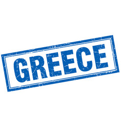 Greece blue square grunge stamp on white vector