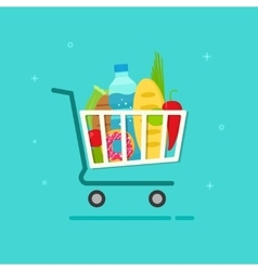 Grocery cart shopping trolley vector
