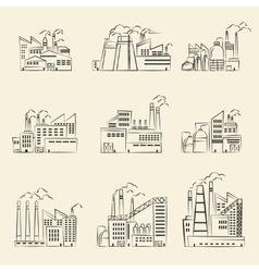 hand drawn industrial factory buildings set vector image
