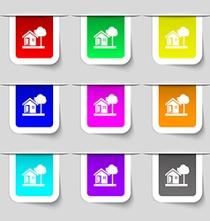 House icon sign Set of multicolored modern labels vector