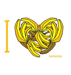 I love bananas Symbol of heart of bananas Tropical vector image
