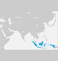 Indonesia blue marked in political map southern vector
