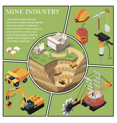 isometric mining industry composition vector image