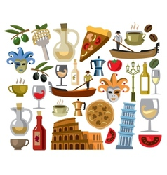 Italy icons set vector
