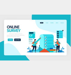 landing page online survey exams choices flat vector image