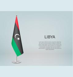 Libya hanging flag on stand template vector