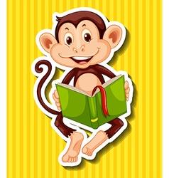 Little monkey reading storybook vector