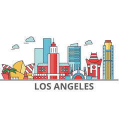 Los angeles city skyline buildings streets vector