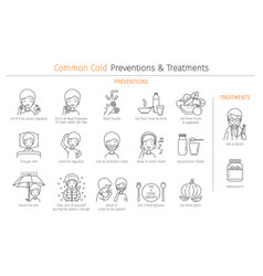 Man with common cold preventions and treatments vector