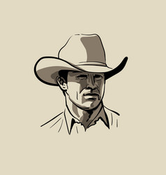 Man with cowboy hat western portrait digital vector