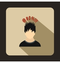 Man with different signs over his head icon vector image