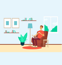 Man with laptop and cup sitting in chair at home vector