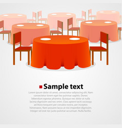 many round tables with tablecloth and two chairs vector image