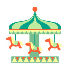 Merry-go round with horses ride part amusement vector