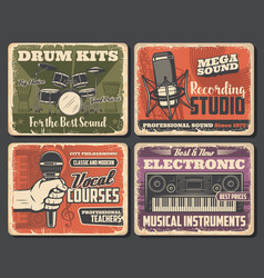 Microphones drum synthesizers music shop vector