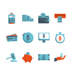 money business financial trade commerce icons set vector image