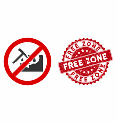 No rock mining icon with grunge free zone stamp vector