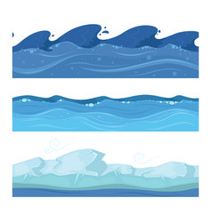 Ocean or sea water waves set of horisontal vector